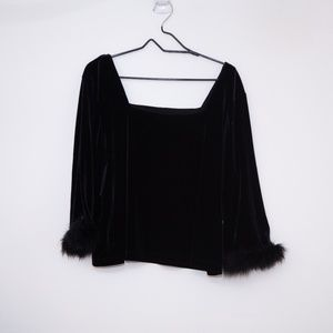 Plus Size Square Neck Fluffy Sleeve Top 2X